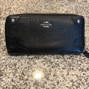 Coach Black zip around wallet